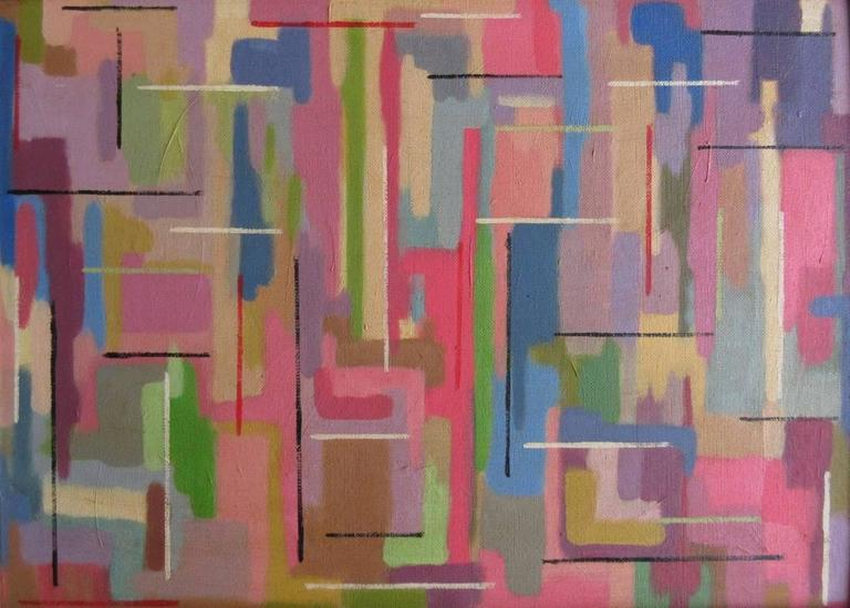 Oil Painting Hard Edge Abstract Retro Modern British Contemporary