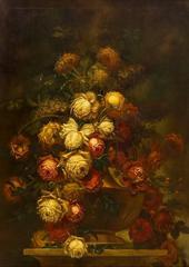 Fine Large 19th Century Italian Still Life Oil Painting - Roses in Ornate Bowl