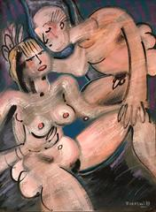 Large French Abstract Nude Lovers - Picasso Influence 1980's