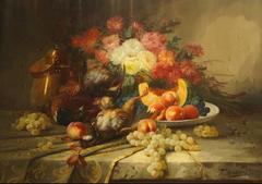 19th Century Large Classical French Still Life Flower Oil Painting