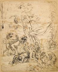 17th Century Flemish Old Master Drawing - Erotic Orgy Scene
