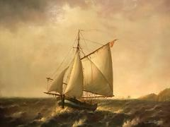 Fine French Marine Oil Painting Fishing Boat on Rough Seas - Listed Artist