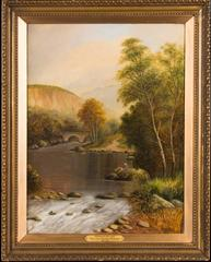 Fishing on the Lledr - Fine Victorian Oil Painting on Canvas
