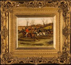 Victorian English Hunting Scene Oil Painting - Amazing Gilt Frame