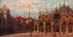 Piazza San Marco - 19th Century Italian Oil Painting St. Marks Basilica Signed