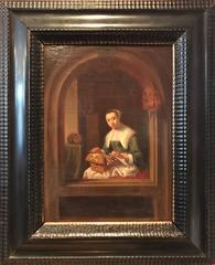 Fine 1700's Dutch Old Master Oil Painting Lady Sewing in Arched Window with Cat