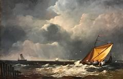 Fine British Maritime Oil Painting - Shipping in Rough Seas - Signed