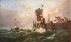 19th Century British Maritime Oil Painting Shipping in Rough Seas - Old Port