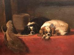 The Cavaliers Pets - Beautiful English Antique Oil Painting of Spaniels