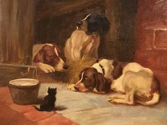 Antique English Dog Oil Painting - 3 Dogs & Kitten