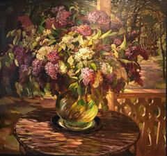 Very Large Russian Impressionist Oil Painting Flowers in Garden