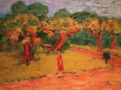 Provence, France. Lady Walking through Park.