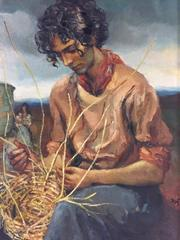 The Basket Weaver - Large Oil Painting Signed & Catalogued