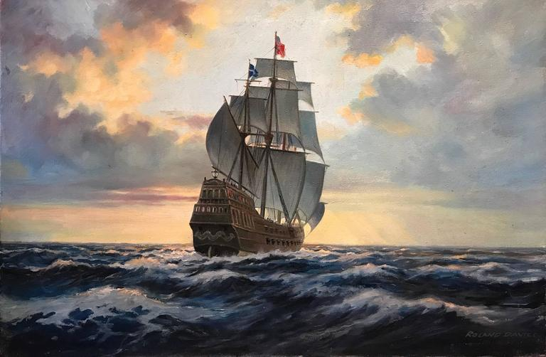 Roland Davies Landscape Painting - Into the Golden West - Large Oil Painting Spanish Galleon at Sea