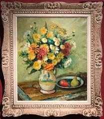 Summer Flowers & Fruit - Signed Oil Painting