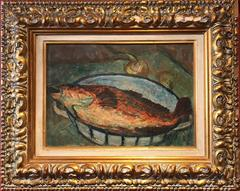 Mid 20th century French Post-Impressionist Oil Painting - Fish on Plate