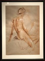 Fine Mid-20th Century British Ink Wash Drawing Seated Nude Lady