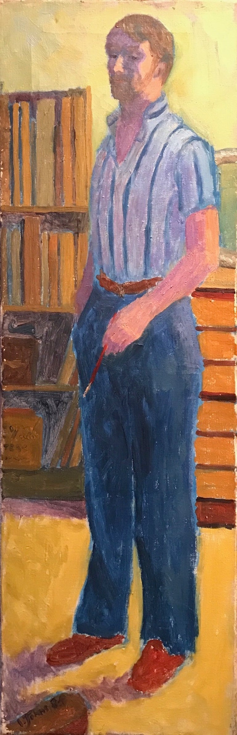 Tall Post-Impressionist Oil Painting - Portrait of an Artist in Interior