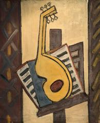 Cubist Oil Painting Guitar on Music Stand - Large French Original