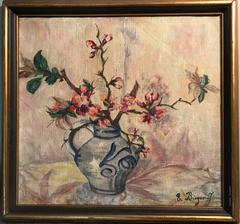 Cherry Blossom in Oriental Vase - Signed Oil Painting