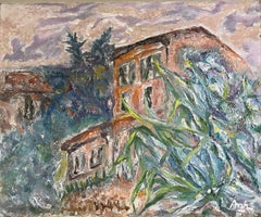 Provencal Maison - Large Mid 20th-Century French Post-Impressionist Oil Painting