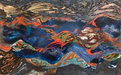 Huge French Abstract Expressionist Oil Painting