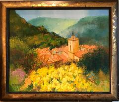 French Impressionist Oil Painting - Provencal Landscape Summer Fields