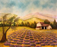 Lavnder Fields in Provence, Signed Oil Painting