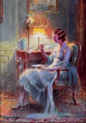 Signed Oil - Elegant Lady in Interior Blowing Bubbles