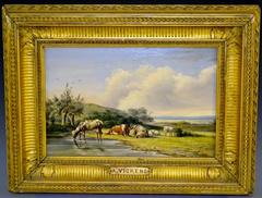 Victorian Oil Painting - Cattle Watering in Pastoral Landscape
