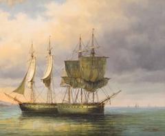 Napoleonic Warships Anchoring off Coast, Oil Painting