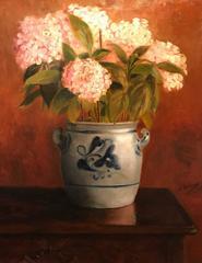 Hydrangeas in Ceramic Pot - Large Antique French Impressionist Oil