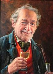 Enjoying a Drink Signed Oil Painting
