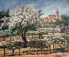 Vintage French Impressionist Oil Painting Provencal Vineyard Landscape Signed