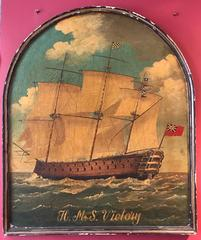 HMS VICTORY Huge Old Pub Sign Ship Oil Painting