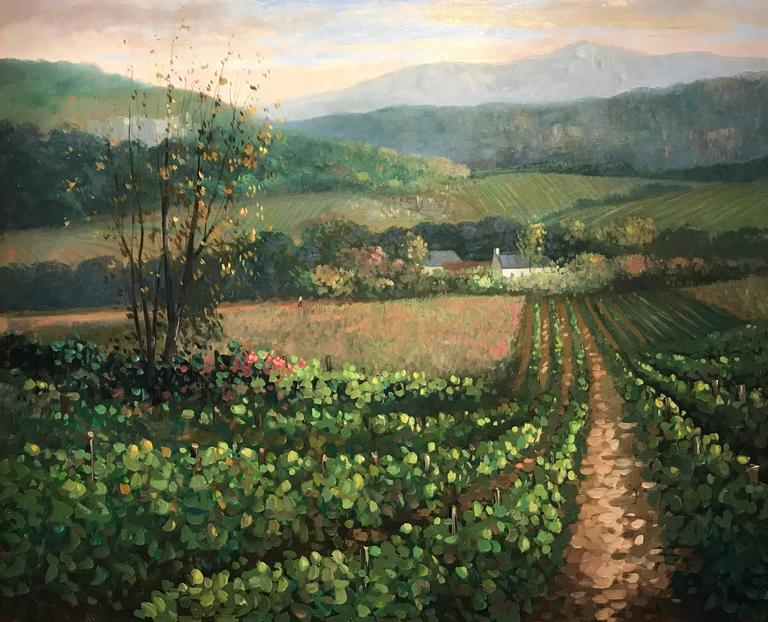 Large Signed French Impressionist Painting Vineyards in Burgundy