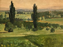 Fine 1920's French Impressionist Oil Painting Eastern French landscape