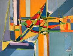1960's French Geometric Abstract Painting Stunning Colors
