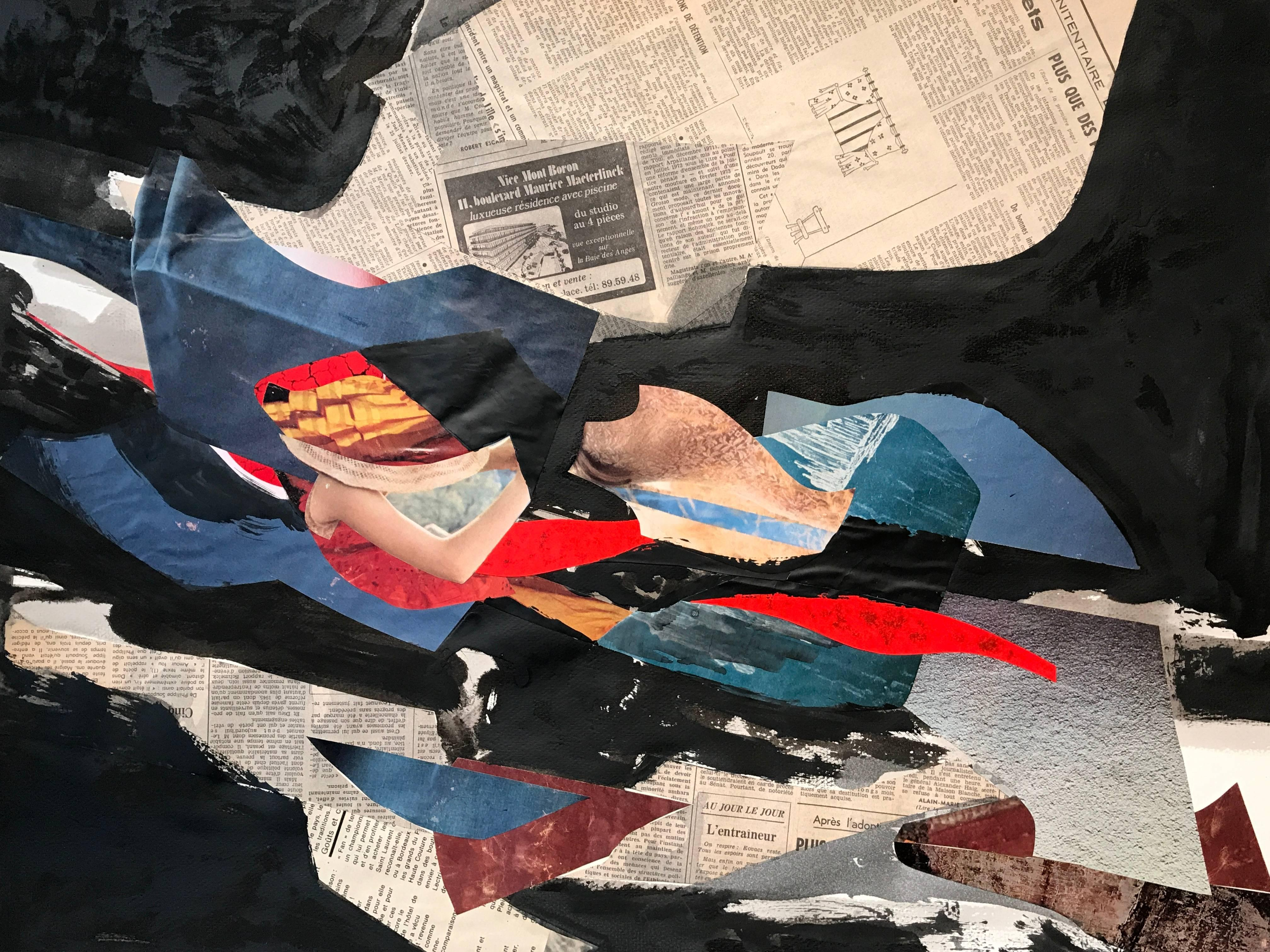 Large French Abstract Painting with Cut Out Collage Artwork Listed Artist