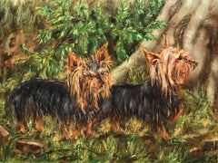 English Oil Painting Yorkshire Terrier Dogs in Landscape