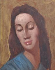 Original Mid 20th Century Oil Painting Portrait of a Lady