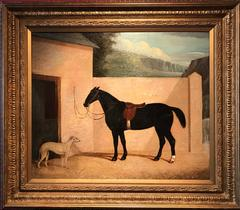 Large 1830's English Sporting Oil Painting Chestnut Hunter & Lurcher