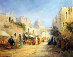 North African Market Street Scene Original Oil Painting