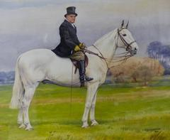 Classic English Equestrian Portrait Gentleman on Hunter Original Painting