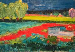 Mid 20thC French Expressionist - Provencal Landscape Poppy Fields Original Oil Painting