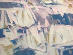 Original French Abstract Expressionist Oil Painting Pinks & Blues