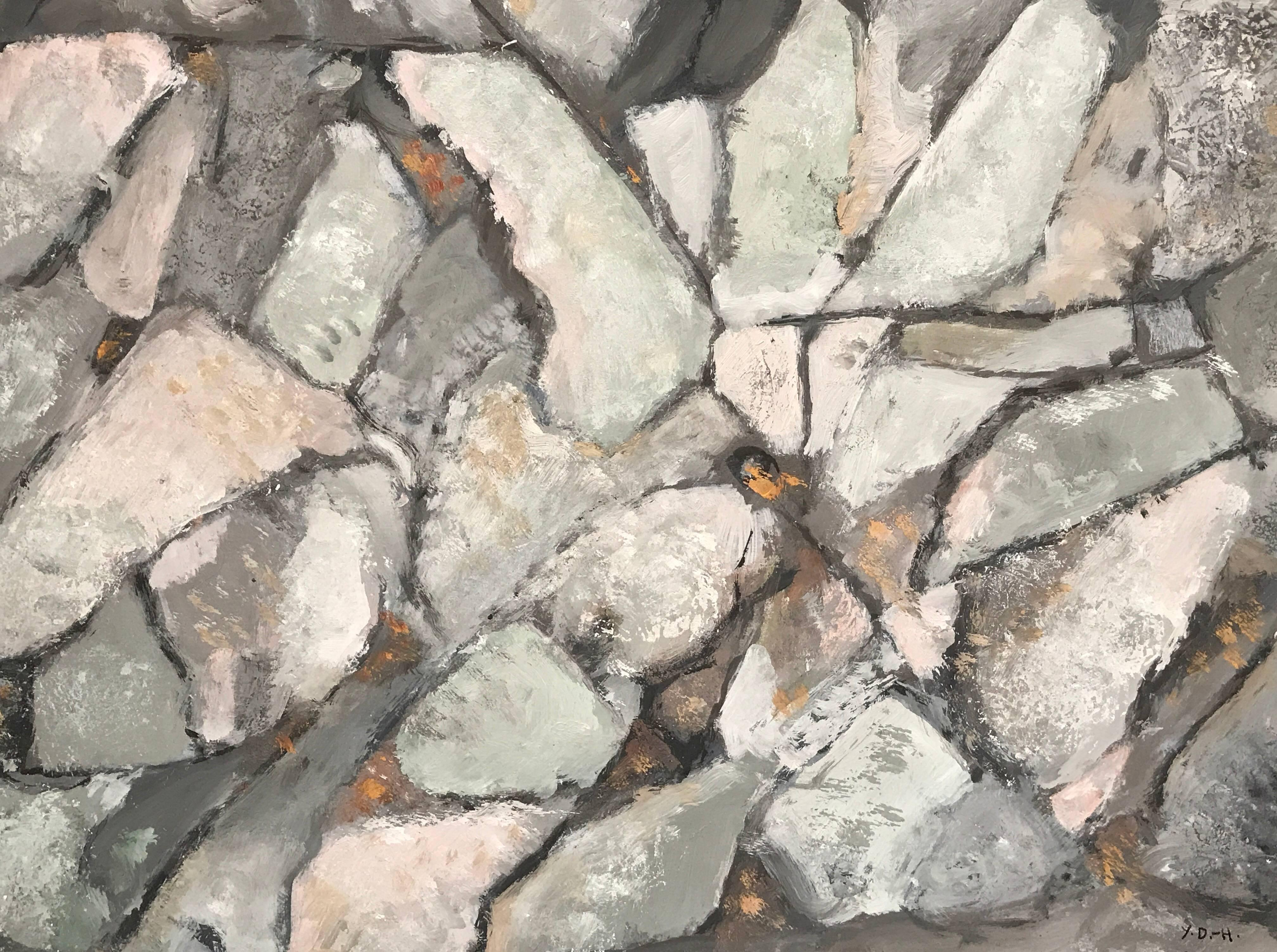 Superb French Original Abstract Painting Rocks from Roscoff 2005