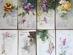 Set of 8 Original French Paintings Illustrations & Flower Card Designs