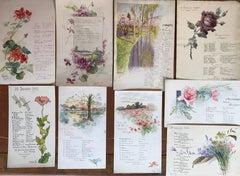 Rare Set of Nine Original French Watercolour Designs & Illustrations