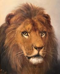 Antique English Original Oil Painting on Canvas Head of a Lion